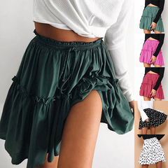 Women's Europe and America Women Half Dress High Waist Pleated Lace Up Female Casual Skirts S Green