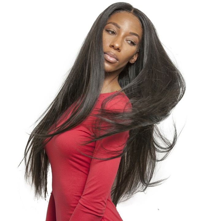 Wig In The Long Hair Black Female High Temperature Silk Hood Black one size black one size
