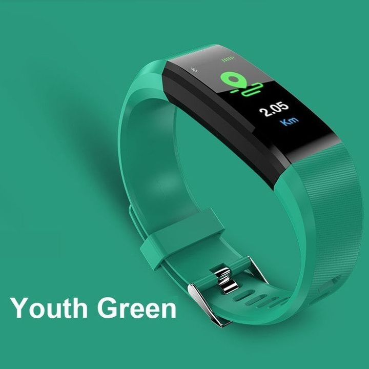 Fitness Waterproof Smart Bracelet Watch 115 Plus Blood Pressure Monitoring Heart Rate Smart Watches Green Free Size