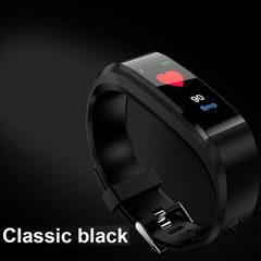 Fitness Waterproof Smart Bracelet Watch 115 Plus Blood Pressure Monitoring Heart Rate Smart Watches Black Free Size