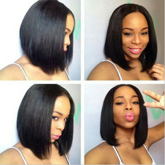 Beauty Straight Short Bob Wigs Natural Color Human Hair Wigs Black black one size