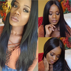Hair Virgin Hair Front Wig Human Synthetic Wig In The Long Straight Hair Linen black one size