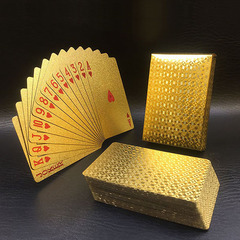 Golden Foil Plated Normal Playing Cards Poker 52 Cards 2 Jokers Special Unusual Birthday Gift Poker A-plaid 8.7*5.7 cm