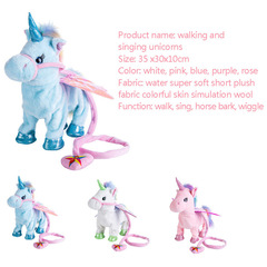 Electronic Pet Toys Pet Toy Unicorn Pet Horse Plush Pet Toys Blue 13.8*11.8*3.9inches