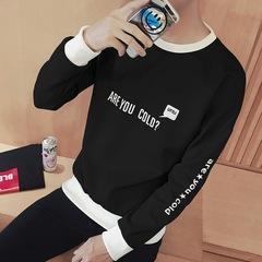 T-shirt For Men Long-sleeved Cardigan Round Collar Long Sleeve Black M Polyester