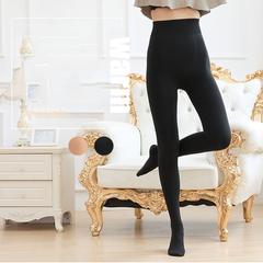 Plus velvet leggings one pants high density anti-pilling pantyhose leggings pantyhose Black with feet One size
