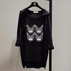 Cat Print Long Sleeve T-Shirt Bat shirt Girls Fashion T-shirt Street style Black cat One size