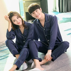 Long Sleeve Silk Couple Pajamas Home Service Set Solid Color Long Sleeve + Trousers Navy Women m
