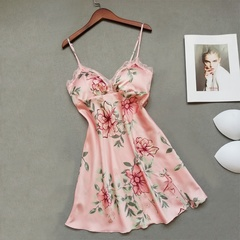 Simple And Natural Thin Floral Print Skirt Pajamas Casual Comfort Ladies Home Service Nightdress pink m