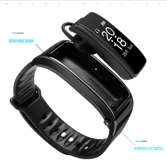 Bluetooth call smart bracelet Bluetooth headset music exercise step heart rate sleep monitoring Black One size