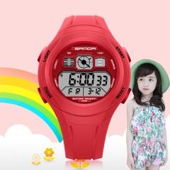 Fashion New Children's Electronic Watch Waterproof Alarm Night Light Children's Outdoor Sports Watch Red One