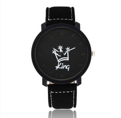 Couple Watch King/Queen Lovers Casual Quartz Watch Couple's Gift Black White Black+Brown King/Queen 2pcs One size