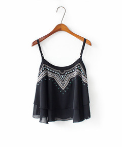 Women Sexy Embroidered Ruffle Round Neck Loose Short Chiffon Wild Casual Strap Top Camisole Black One size