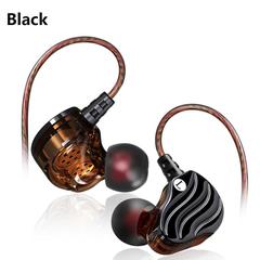 QKZ KD4 In-ear Subwoofer Headphones Mobile Music MP3 Dual Unit Subwoofer Headphones ear-hook black