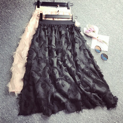 Women Skirts Elegant chiffon Feather pattern tassel high waist Fairy A Line Knee Length Party Skirt black one size