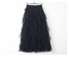 Summer Women skirt Korean Elastic High waist fashion Loose mesh stitching irregular long Skirts black one size