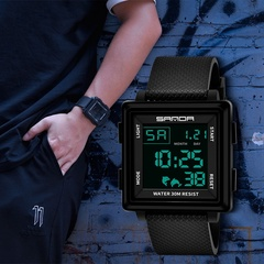 Fashion New Men's Square Electronic Watch Waterproof Alarm Youth Outdoor Sports Watch Black one size
