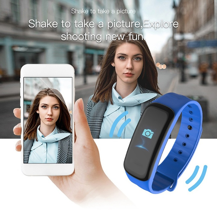 Smart Band Fitness Tracker Heart Rate Tracker Sports Record Blood Pressure Testing Smart Bracelet blue free size