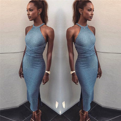 Tight skirt Summer Women's New Sleeveless Sleeveless Dress and Long Skirt with Backless Bandage One color(blue) S