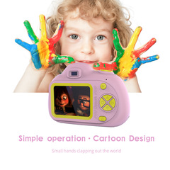 HD Mini Digital Cartoon Camera Kids Game Toys Chargable Video Photography Toys Pink one size