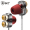Earphones Dual Driver Sport Earphone 3.5mm Jack Headset  with Mic Music Earphone for All Phone Pc Red