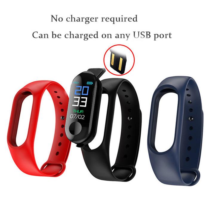 Color Screen Smart Watch Sport Fitness Bracelet IP68 Waterproof Blood Pressure Oxygen Activity Black
