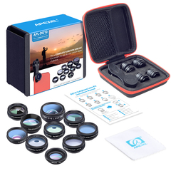 Phone Camera Lens Kit 10 in 1 Fisheye Wide Angle Macro Lens CPL Filter Kaleidoscope+2X telescope Pictured one size