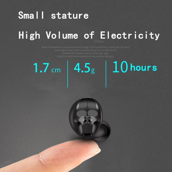 Skull Bone Bluetooth Earphone with Microphone Noise Cancelling Hi-Fi Handsfree Bass Stereo Mini black
