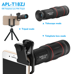 APEXEL 2 in 1 HD 18X Telephoto  Camera Lens  Tripod Optical  18x25 Monocular Mobile Lens  Smartphone Lens + Tripods One Size