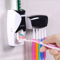 Toothbrush Holder Automatic Toothpaste Dispenser Wall Mount Stand Bathroom Accessories Black 1  set