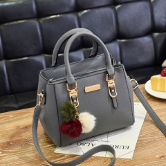 Women Hairball Ornaments Totes Solid Sequined Handbag Party Purse Ladies Messenger Shoulder Bags Gray 18cm*14cm*23cm