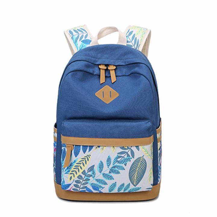 95f36f093993 Vintage Leaf Print Canvas Backpack For Children School Bags For Girls Child  Book Bag Women Laptop blue 6000