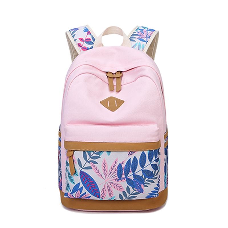 cfa444c7a39d Vintage Leaf Print Canvas Backpack For Children School Bags For Girls Child  Book Bag Women Laptop pink 6000