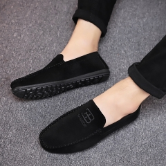 Men Casual Suede Leather Black Solid Leather Driving Gommino Shoes Men Loafers Shoes black 42