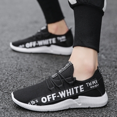 Men Flying Woven Mesh Sneakers Shoes Korean Fashion Casual Breathable Running Shoes black 39