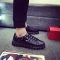 2018 new spring  lace-up shoes woman PU Leather solid color female shoes casual  men shoes sneakers black 39