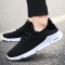 Fashionable men's casual running shoes breathable and flat student sneakers black 39