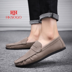 Soft Leather Men Shoes Driving Loafers Slip-On Style Lazy Shoes Casual Outdoor Leisure Peas Shoes khaki 41