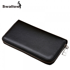 Business Men Wallets Famous Brand Purse Men Leather Witch Card Holder Solid Zipper Phone Pocket brown one size