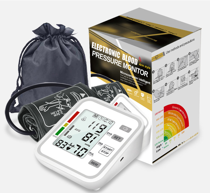 Auto Electronic Upper Arm Blood Pressure Monitor 2 People 99 Groups Memory Sphygmomanometer as picture