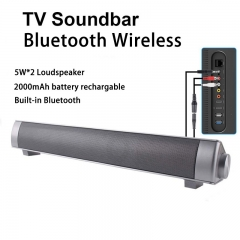 Bluetooth TV Soundbar Wireless Home Theater 10W Portable Speaker Stereo Hands-free Silver With Remote control