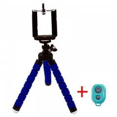 Phone Holder Flexible Octopus Tripod Bracket Stand Mount with Bluetooth remote for Selfie Blue one size
