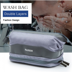 Wash bag Men Women Waterproof Travel Fitness Bag Double Layers Cosmetic bag Bath bag Travel supplies Light gray L23*W13*H15cm