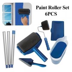 Paint Roller Brush Set Edger Room Wall Painting Tool Brush Set Home Paint Runner blue 6pc