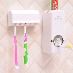 Home Auto Automatic Toothpaste Dispenser + 5 Toothbrush Holder Set Wall Mount Stand White