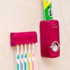 Home Auto Automatic Toothpaste Dispenser + 5 Toothbrush Holder Set Wall Mount Stand Red