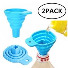 2Pcs/lots Portable Retractable Funnels Home Kitchen Funnel Convenient Storage random color one size
