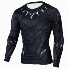Black Panther 3D Printed T-shirts Cosplay Costume Fitness Clothing Tee Long Sleeve T-Shirt S black