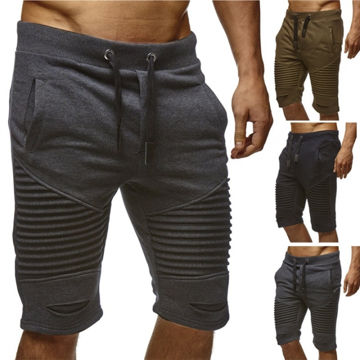 Fashion Men's Shorts Summer Casual Sport  Knee Pleated Lac Up Waist Jogger Pants black M