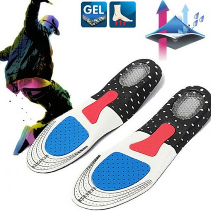 3 Pairs Men Gel Orthotic Sport Running Insoles Insert Shoe Pad Arch Support Heel Cushion black 35-40
